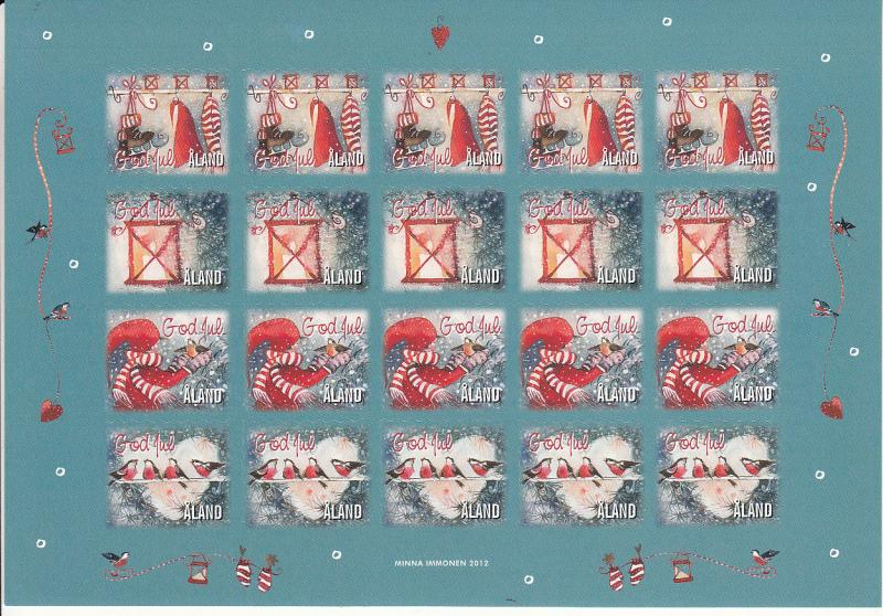 Aland 2012 MNH Sheet of 20 Christmas Seals 4 different