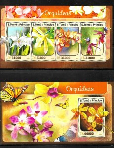 #8510 STO TOME PRINCIPE 2016 FLORA FLOWERS ORCHIDS M/S+S/S YV 5439-42 BL 962 MNH