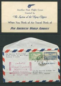 SYRIA-US 1947 FIRST FLIGHT DAMASCUS TO NEW YORK ON PAN AM AIRWAYS VIA LONDON ...