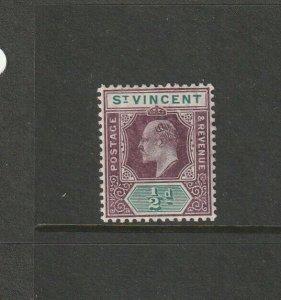 St Vincent 1904/11 MCCA, 1/2d DAMAGED FRAME & CROWN, Fresh MM SG 85a