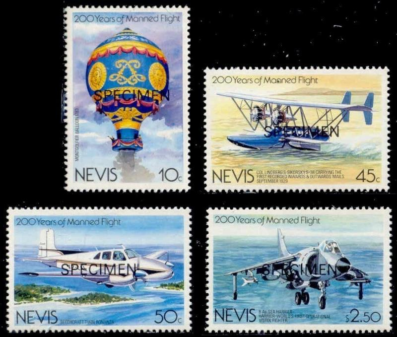 Nevis 1983 Manned Flight w/ SPECIMEN Ovpt (Scott # 182-185)