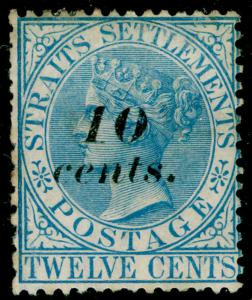 MALAYSIA - Staits Settlements SG45, 10c on 12c ultramarine, M MINT. Cat £95.