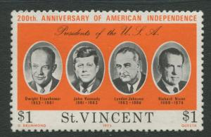 St Vincent - Scott 443 - American Independance -1975 - MLH - Single $1 Stamp