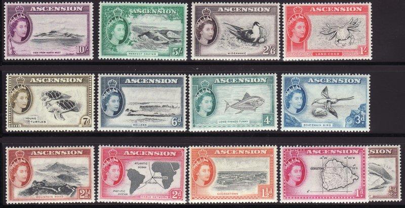 1956 Ascension Island Queen Elizabeth QE full set MVLH Sc# 62 / 74 CV $143.20