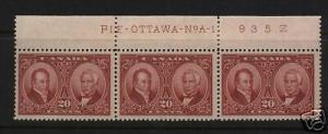 Canada #148 VF Mint Plate Strip Of Three