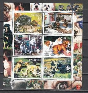 Turkmenistan, 2000 Russian Local. Dogs sheet of 6.