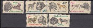 J27081 1973 czechoslovakia set mh #1896-1901 dogs