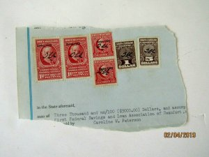 #R631 x2 & R634 x2 & $1.00 & $5.00 SC Documentary Stamps on piece,1953, Unusual