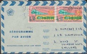 INDONESIA 1968 formular aerogramme commercially used to UK..................K806