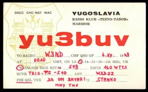 QSL QSO RADIO CARD yu3buv,Coat of Arms,Tezno-Tabor, Yugoslavia (Q3699)