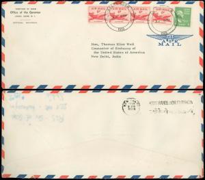 1955 GUAM TERRITORIAL, OFFICE of the GOVERNOR to US CONSUL, INDIA, OB, #C39 #804