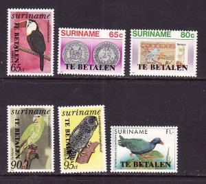 Surinam-Sc#J58-63-unused NH Postage Due set-Birds-1987-