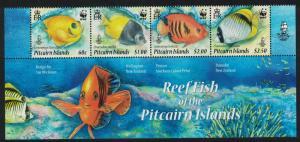 Pitcairn WWF Coral Reef Fish Bottom strip of 4v SG#807-810 MI#805-808 SC#705a-d