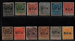 $British Cent. Africa Sc#1-12 used+M/H/F-VF, part set, 10 no gum, Cv. $595.50