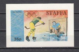 Staffa Local. 1972 issue. Olympic Hockey s/sheet.^