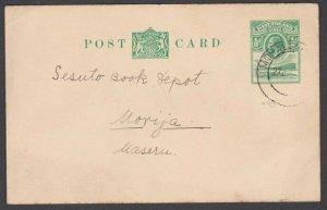 BASUTOLAND 1938 GV ½d postcard commercially used MOHALESHOEK to Morija......N368