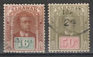 SARAWAK 1918 RAJAH BROOKE 16C AND 50C USED NO WMK
