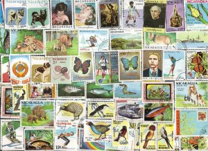 100 All Different NICARAGUA Stamps -  all large (J)
