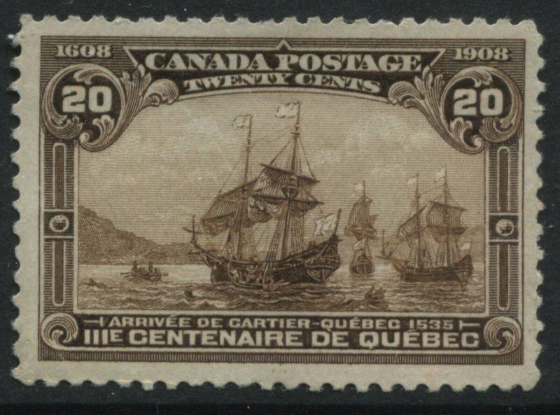 Canada 1908 Quebec Tercentenary 20 cents unused no gum nicely centred