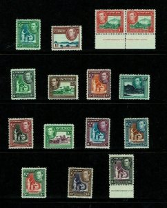 St Vincent: 1938, King George VI definitive set, complete, MLH.
