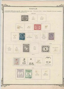 surinam stamps on album page  ref 13541