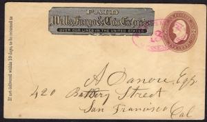 $US Postal Sta Cover, Wells Fargo Express Magenta Messenger H/S cancel