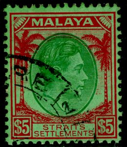 MALAYSIA - Straits Settlements SG292, $5 green & red/emerald, VFU.