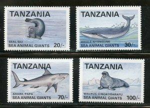TANZANIA  SCOTT#950/54 SEA ANIMAL GIANTS SET AND  SOUVENIR SHEET  MINT NH