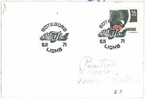 25992   LIONS  - POSTAL HISTORY - SWEDEN : POSTMARK on CARD 1971