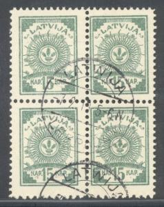 Latvia Sc 8 1919 15 k arms stamp used block of 4