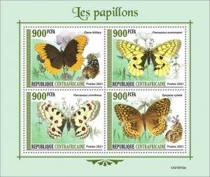 Central Africa - 2021 Butterflies, Apollo, Fritillary - 4 Stamp Sheet -