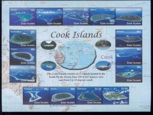 COOK ISLANDS #1343 Mint, NH Sheet of 15- Arial Pics of Cook Islands - 27