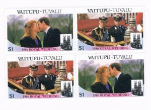 Tuvalu Vaitupu 66a-b Pair MNH Blk 4 Royal Wedding 1986 (T0021)
