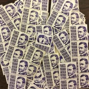 1297  Francis Parkman shiny gum 100 mint 3 cent coil stamps  FV $3.00