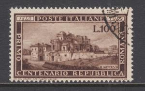 Italy Sc 518 used 1949 100l brown Vascello, crisp corner cancel, cplt set, VF