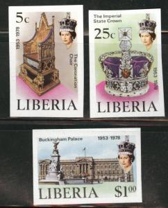 LIBERIA Scott 813-5 MNH** 1978 Coronation imperforate set