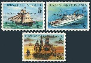 Turks & Caicos 744-746,MNH.Mi 811-813. Ships overprinted,1988,QE II 40th Wedding