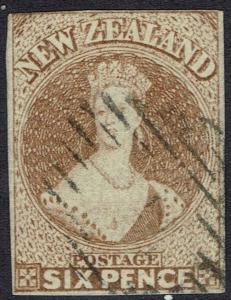 NEW ZEALAND 1857 QV CHALON 6D IMPERF NO WMK WHITE PAPER USED
