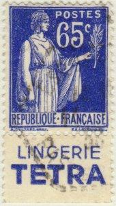 FRANCE - 1937 Pub LINGERIE TETRA sur Yv.365b 65c Paix obl.