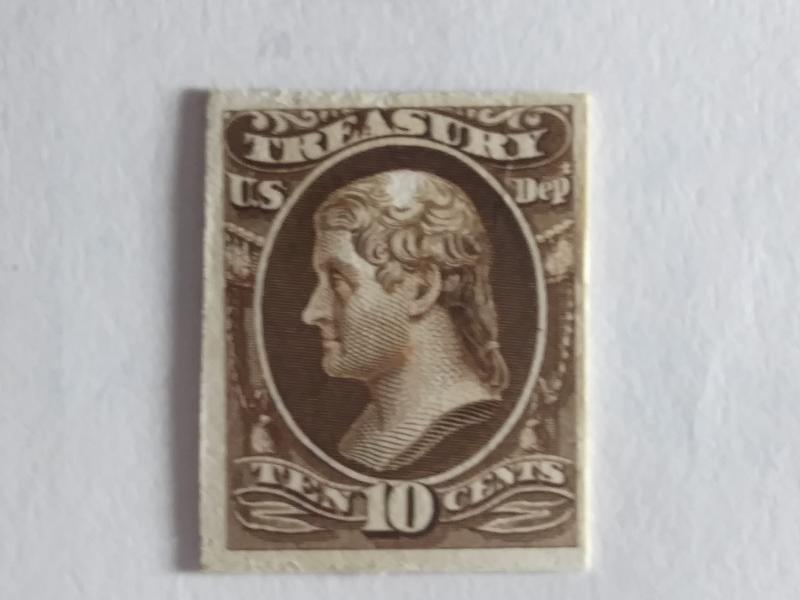 SCOTT # O77P CARD PROOF 10 CENT TREASURY NOTE GREAT COLOR AND GREAT CENTERING !!
