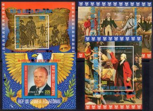 Equatorial Guinea 1975 AMERICAN BICENTENNIAL 4 Souvenir Sheets MNH