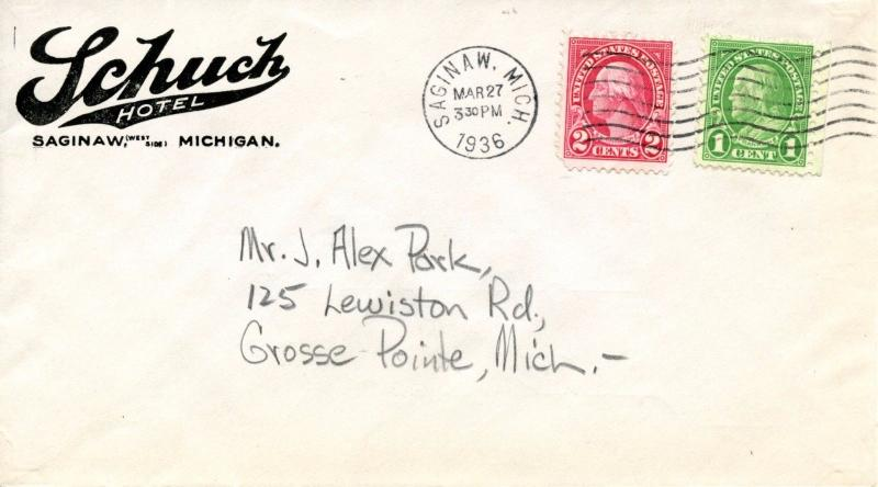 U.S. Scott 632, 634 On 1st Class Mail Schuch Hotel 2-Sided Ad Cover fr. Michigan