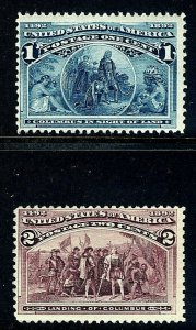 [T5]   US #230 &231 MNH 1893 1c + 2c 'Columbian Exposition' Stamps...Ships Free!