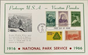 Hammond Card 1314 National Park Service Yellowstone Cancel Too many Stamps
