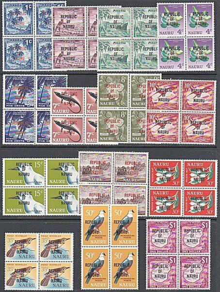 NAURU 1968 REPUBLIC overprint definitive set MNH blocks of 4...............29023