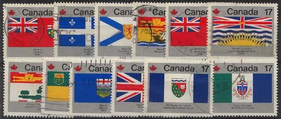 Canada - 1979 Provincial & Territorial Flags Set Used