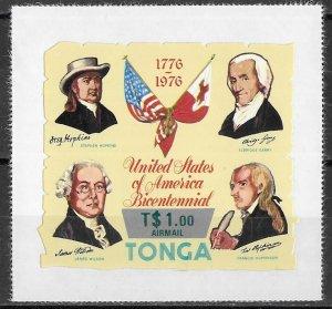 Tonga Overprinted American Bicentennial Die Cut issue of 1976, Scott C236, MNH