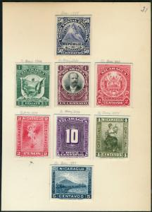 NICARAGUA #125P3; O142P3 & (6) REV. ABNCo PLATE PROOFS ON INDIA XF-SUPERB HV5309