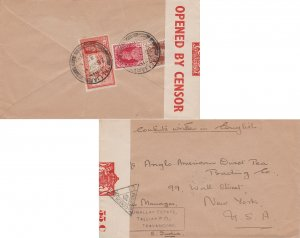 India 1/2a and 1a KGVI and 2a KGVI Dak Runner 1940 Talliar to New York, N.Y. ...