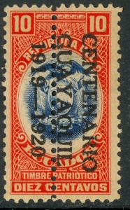 ECUADOR PATRIOTIC FUND REVENUES 1919 10c PERF THROUGH CENTER MNH